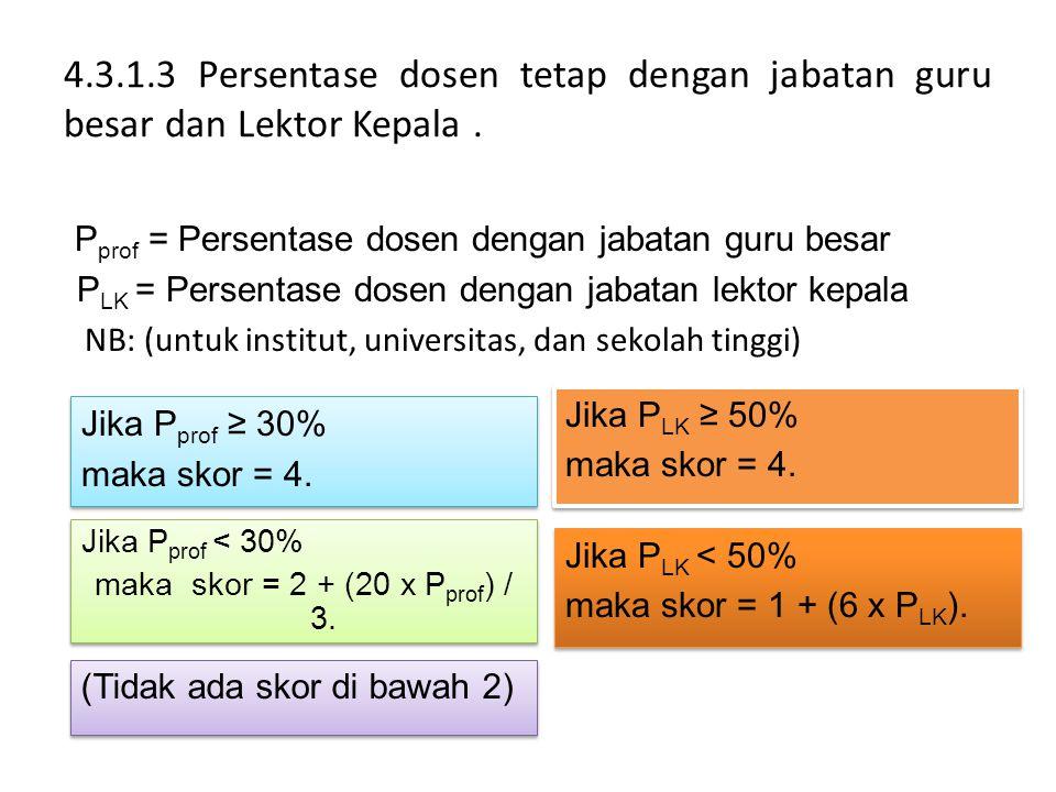 4.3.1.3 Persentase dosen tetap dengan jabatan guru besar dan Lektor Kepala. P prof = Persentase dosen dengan jabatan guru besar P LK = Persentase dose
