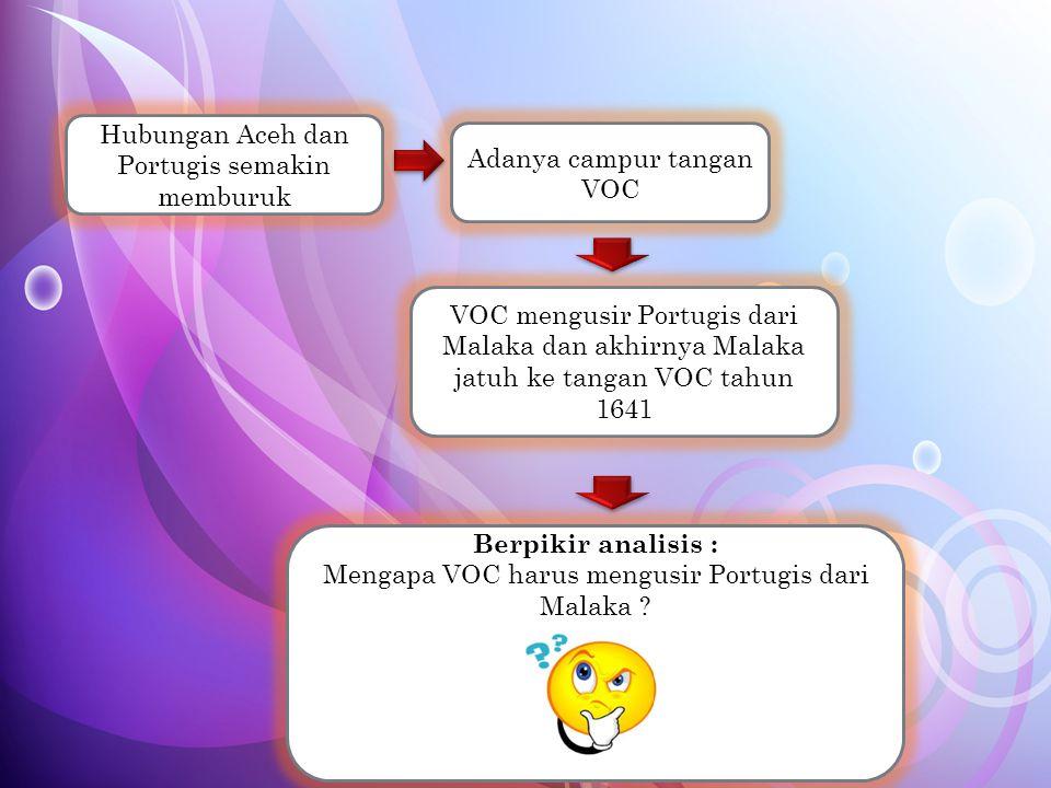 Tujuan VOC mengusir Portugis dari Malaka : 1.Belanda ingin menguasai Malaka dari aspek politik dan ekonomi 2.Belanda ingin memperluas akses seluas-luasnya bagi pengusaha-pengusaha asing untuk melakukan kegiatan ekonomi di Indonesia 3.Belanda ingin membebaskan pulau-pulau yang potensial SDA dari negara-negara lain termasuk Portugis