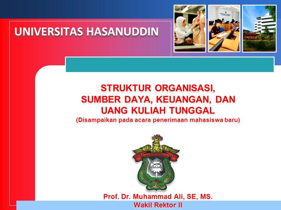 STRUKTUR ORGANISASI, SUMBER DAYA, KEUANGAN, DAN UANG KULIAH TUNGGAL (Disampaikan pada acara penerimaan mahasiswa baru) UNIVERSITAS HASANUDDIN Prof. Dr