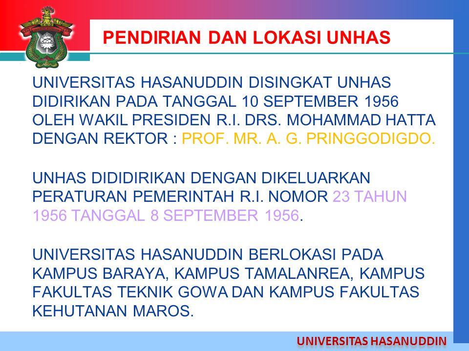 UNIVERSITAS HASANUDDIN PENDIRIAN DAN LOKASI UNHAS UNIVERSITAS HASANUDDIN DISINGKAT UNHAS DIDIRIKAN PADA TANGGAL 10 SEPTEMBER 1956 OLEH WAKIL PRESIDEN