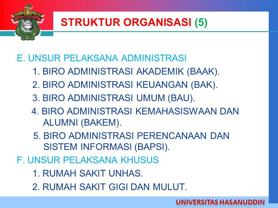 UNIVERSITAS HASANUDDIN STRUKTUR ORGANISASI (5) E. UNSUR PELAKSANA ADMINISTRASI 1. BIRO ADMINISTRASI AKADEMIK (BAAK). 2. BIRO ADMINISTRASI KEUANGAN (BA