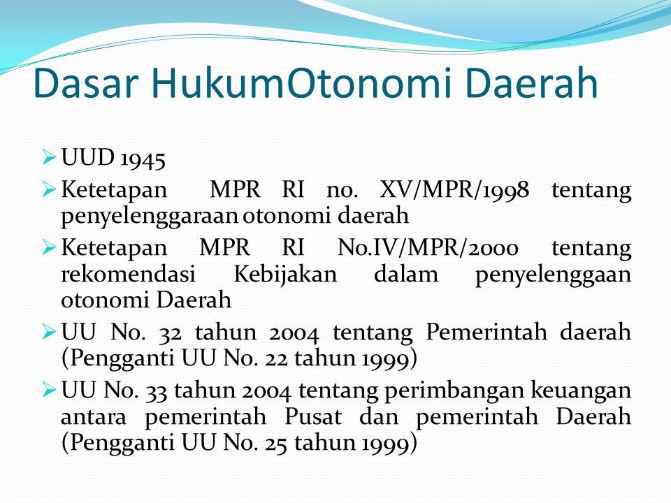 Dasar HukumOtonomi Daerah  UUD 1945  Ketetapan MPR RI no. XV/MPR/1998 tentang penyelenggaraan otonomi daerah  Ketetapan MPR RI No.IV/MPR/2000 tenta