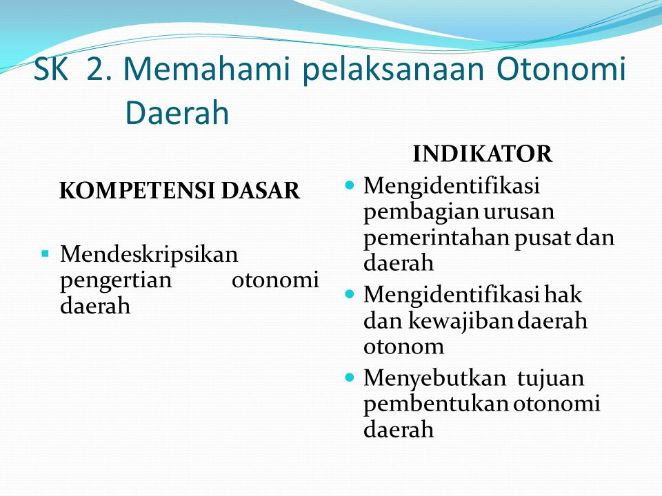 SK 2. Memahami pelaksanaan Otonomi Daerah KOMPETENSI DASAR  Mendeskripsikan pengertian otonomi daerah INDIKATOR Mengidentifikasi pembagian urusan pem