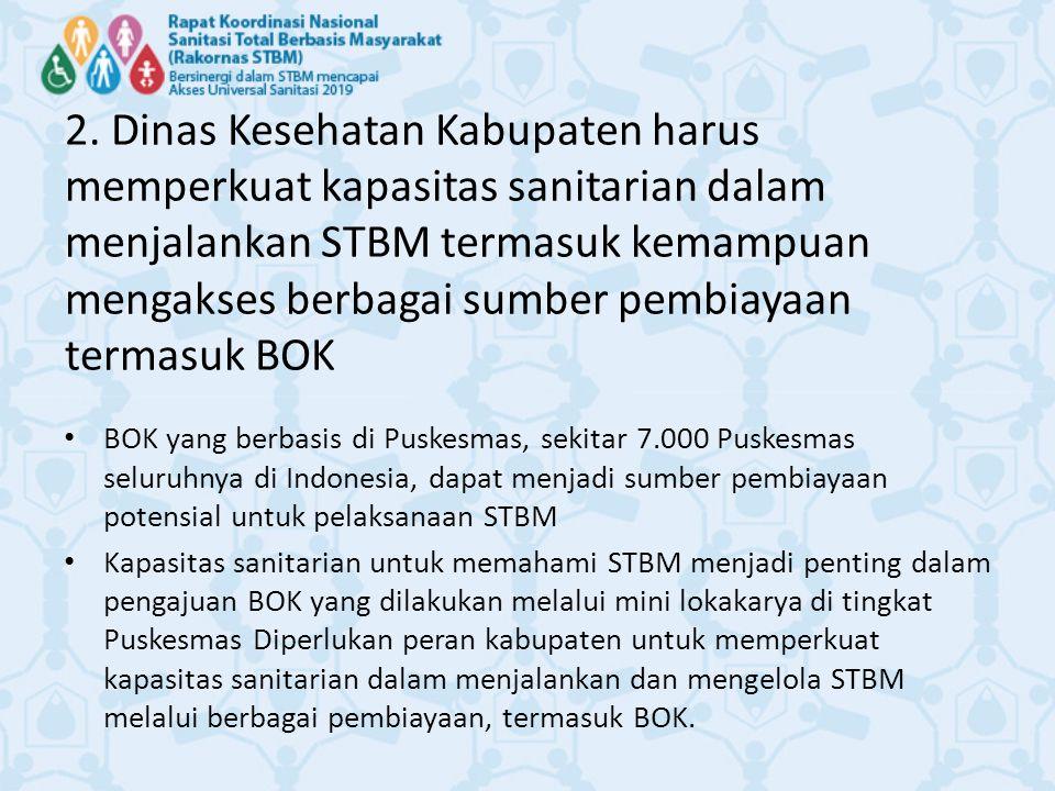 2. Dinas Kesehatan Kabupaten harus memperkuat kapasitas sanitarian dalam menjalankan STBM termasuk kemampuan mengakses berbagai sumber pembiayaan term