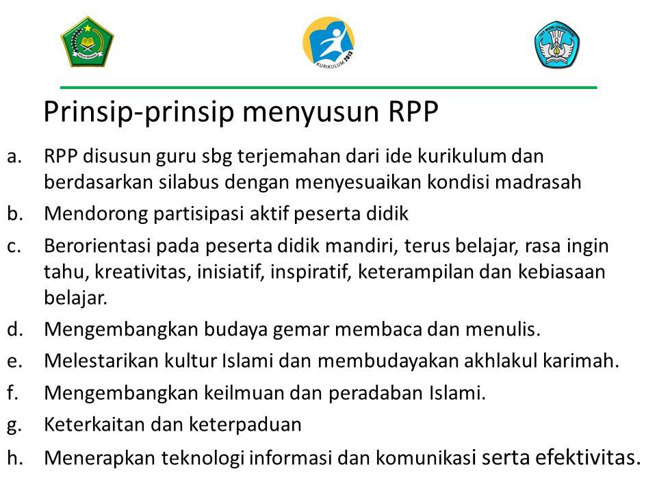 Prinsip-prinsip menyusun RPP a.RPP disusun guru sbg terjemahan dari ide kurikulum dan berdasarkan silabus dengan menyesuaikan kondisi madrasah b.Mendo
