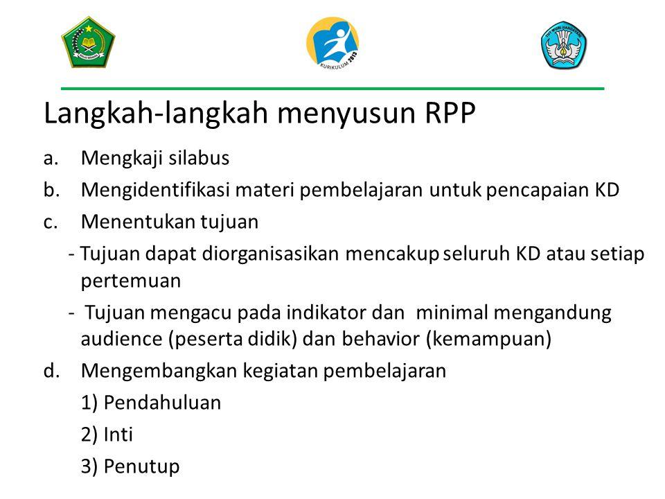 Langkah-langkah menyusun RPP a.Mengkaji silabus b.Mengidentifikasi materi pembelajaran untuk pencapaian KD c.Menentukan tujuan - Tujuan dapat diorgani