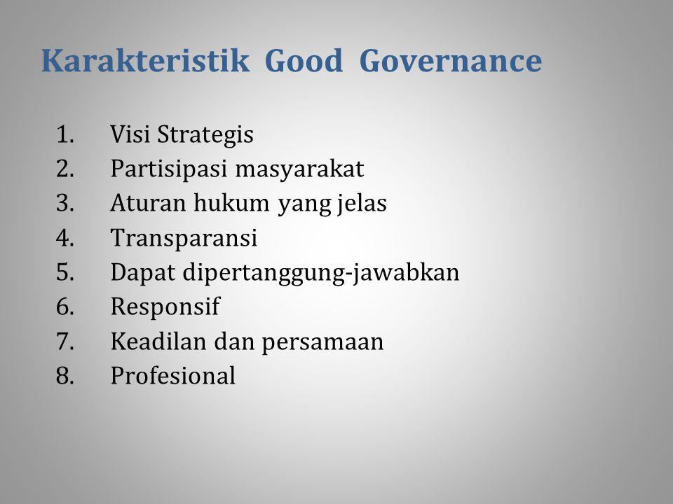 Karakteristik Good Governance 1.Visi Strategis 2.Partisipasi masyarakat 3.Aturan hukum yang jelas 4.Transparansi 5.Dapat dipertanggung-jawabkan 6.Responsif 7.Keadilan dan persamaan 8.Profesional