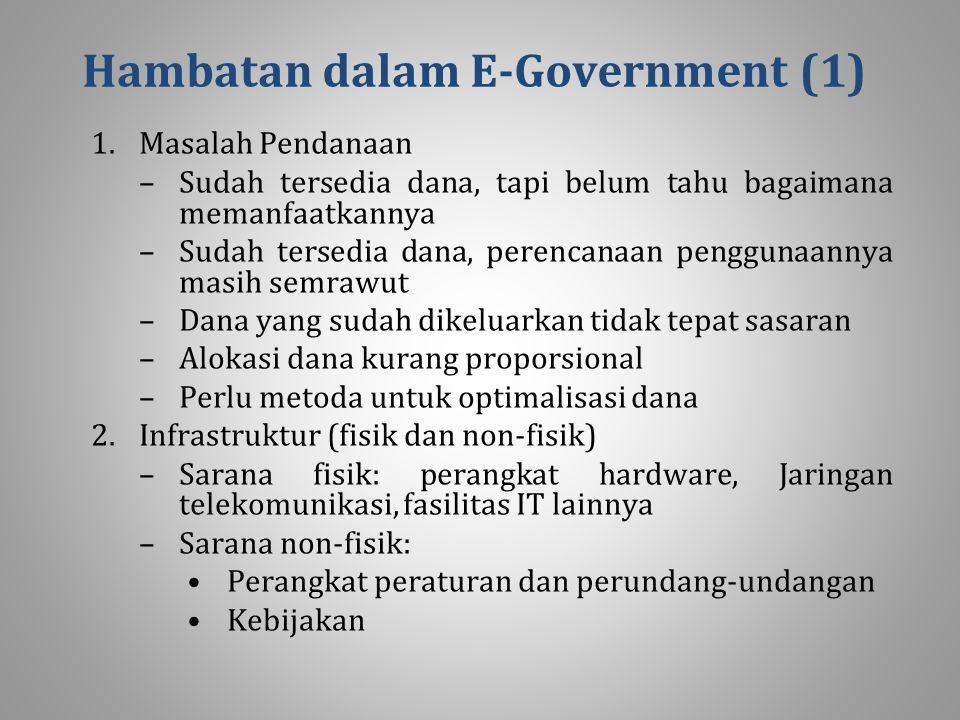 Hambatan dalam E ‑ Government (1) 1.Masalah Pendanaan –Sudah tersedia dana, tapi belum tahu bagaimana memanfaatkannya –Sudah tersedia dana, perencanaan penggunaannya masih semrawut –Dana yang sudah dikeluarkan tidak tepat sasaran –Alokasi dana kurang proporsional –Perlu metoda untuk optimalisasi dana 2.Infrastruktur (fisik dan non-fisik) –Sarana fisik: perangkat hardware, Jaringan telekomunikasi, fasilitas IT lainnya –Sarana non-fisik: Perangkat peraturan dan perundang-undangan Kebijakan