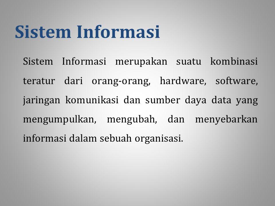 Sistem Informasi Sistem Informasi merupakan suatu kombinasi teratur dari orang-orang, hardware, software, jaringan komunikasi dan sumber daya data yang mengumpulkan, mengubah, dan menyebarkan informasi dalam sebuah organisasi.