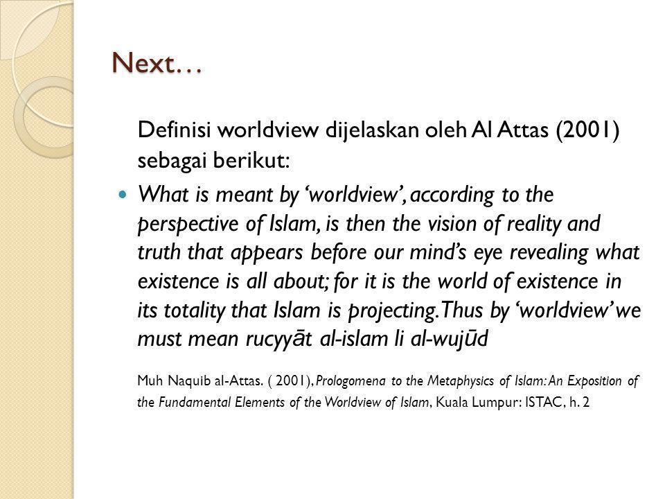 Next… Pembangunan worldview adalah syarat untuk melakukan Islamisasi.