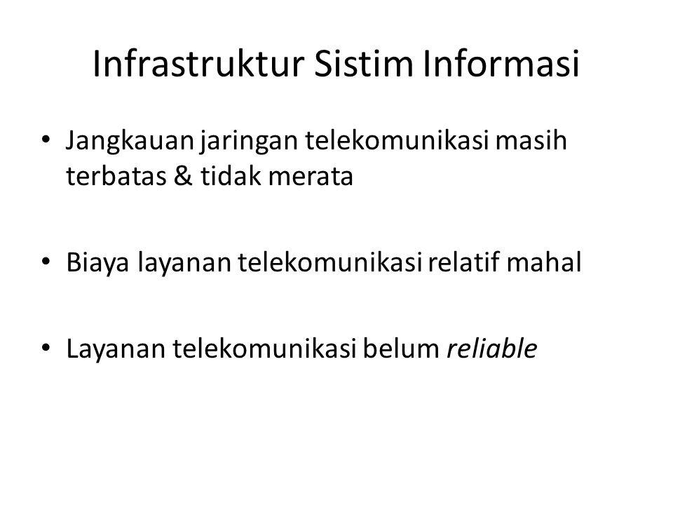 Infrastruktur Sistim Informasi Jangkauan jaringan telekomunikasi masih terbatas & tidak merata Biaya layanan telekomunikasi relatif mahal Layanan telekomunikasi belum reliable