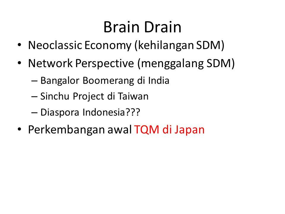 Brain Drain Neoclassic Economy (kehilangan SDM) Network Perspective (menggalang SDM) – Bangalor Boomerang di India – Sinchu Project di Taiwan – Diaspo