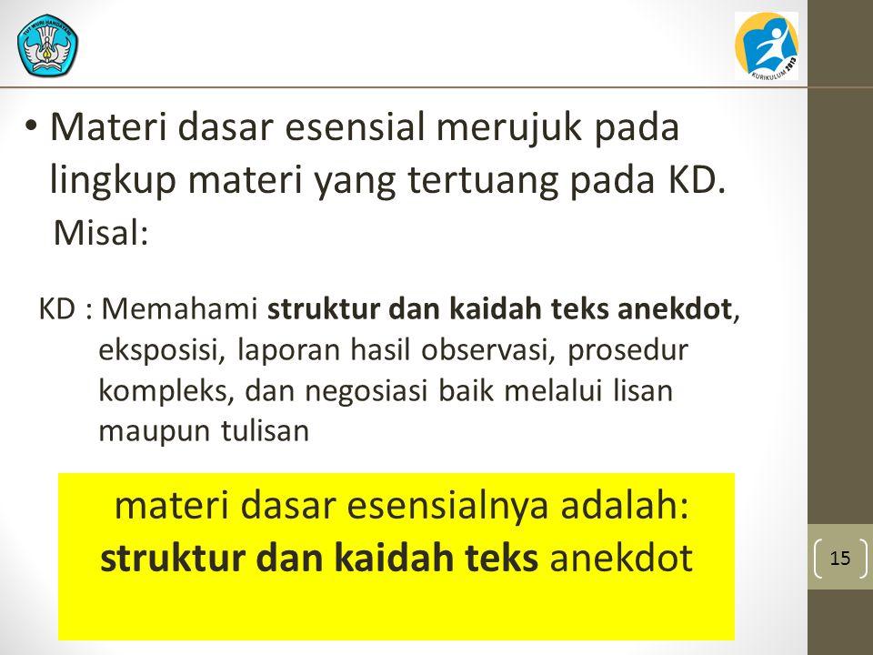 15 Materi dasar esensial merujuk pada lingkup materi yang tertuang pada KD.