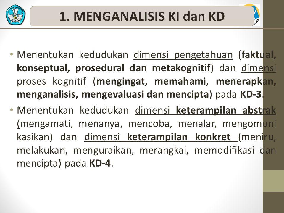 Menentukan kedudukan dimensi pengetahuan (faktual, konseptual, prosedural dan metakognitif) dan dimensi proses kognitif (mengingat, memahami, menerapkan, menganalisis, mengevaluasi dan mencipta) pada KD-3.