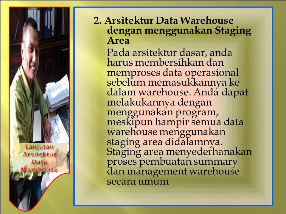 2. Arsitektur Data Warehouse dengan menggunakan Staging Area Pada arsitektur dasar, anda harus membersihkan dan memproses data operasional sebelum mem