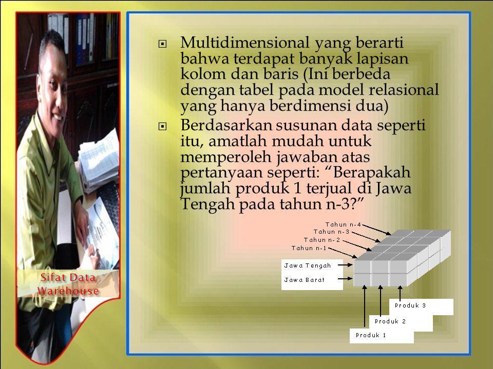  Multidimensional yang berarti bahwa terdapat banyak lapisan kolom dan baris (Ini berbeda dengan tabel pada model relasional yang hanya berdimensi du