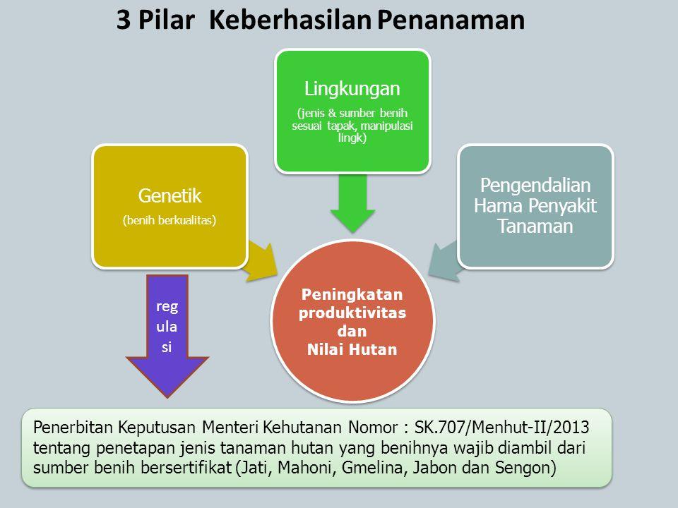 3 Pilar Keberhasilan Penanaman Peningkatan produktivitas dan Nilai Hutan Genetik (benih berkualitas) Lingkungan (jenis & sumber benih sesuai tapak, ma