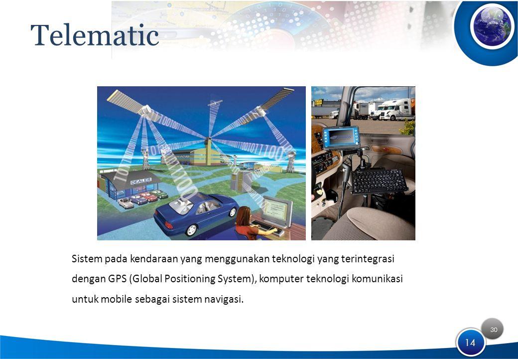 30 14 Telematic Sistem pada kendaraan yang menggunakan teknologi yang terintegrasi dengan GPS (Global Positioning System), komputer teknologi komunikasi untuk mobile sebagai sistem navigasi.