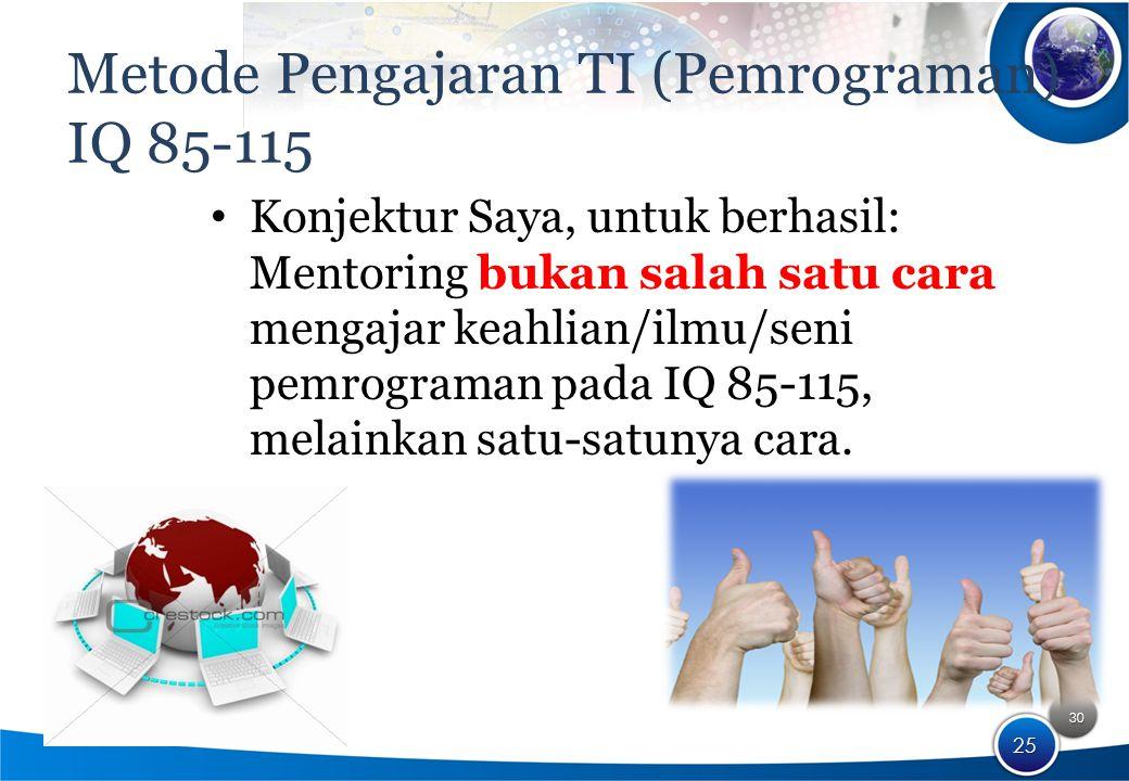 30 25 Metode Pengajaran TI (Pemrograman) IQ 85-115 Konjektur Saya, untuk berhasil: Mentoring bukan salah satu cara mengajar keahlian/ilmu/seni pemrograman pada IQ 85-115, melainkan satu-satunya cara.