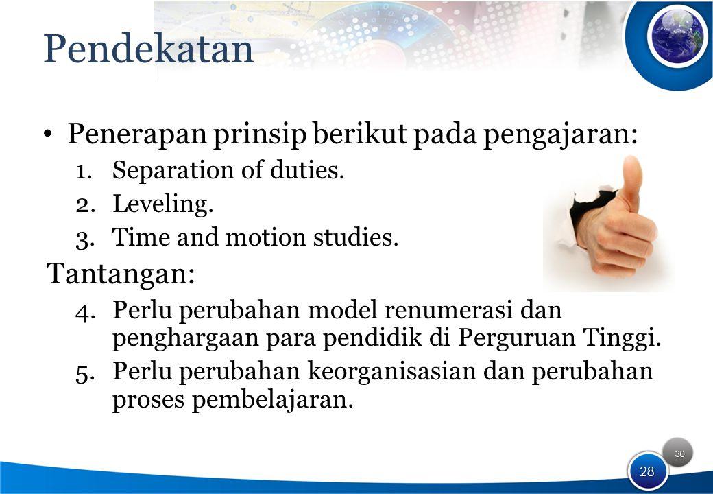 30 28 Pendekatan Penerapan prinsip berikut pada pengajaran: 1.Separation of duties.