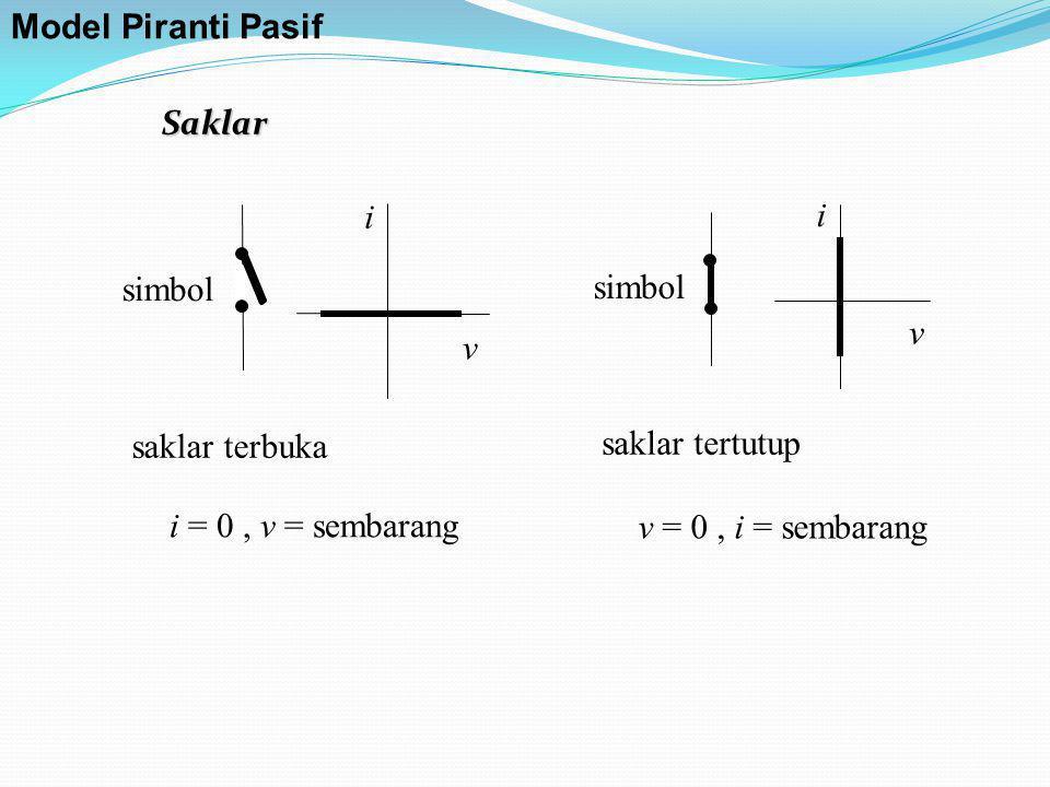 saklar terbuka i = 0, v = sembarang v i simbol saklar tertutup v = 0, i = sembarang v i simbol Saklar Model Piranti Pasif
