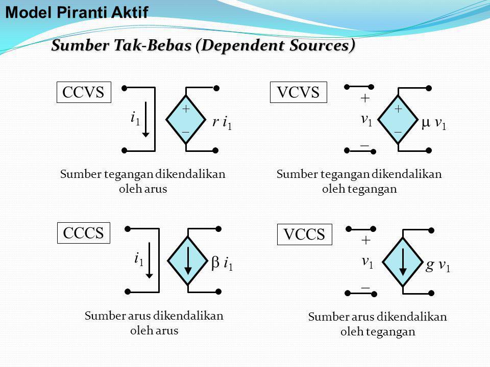 +_+_ i1i1 r i 1 CCVS +_+_  v1 v1 + v 1 _ VCVS  i1 i1 i1i1 CCCS g v 1 + v 1 _ VCCS Sumber Tak-Bebas (Dependent Sources) Model Piranti Aktif Sumber