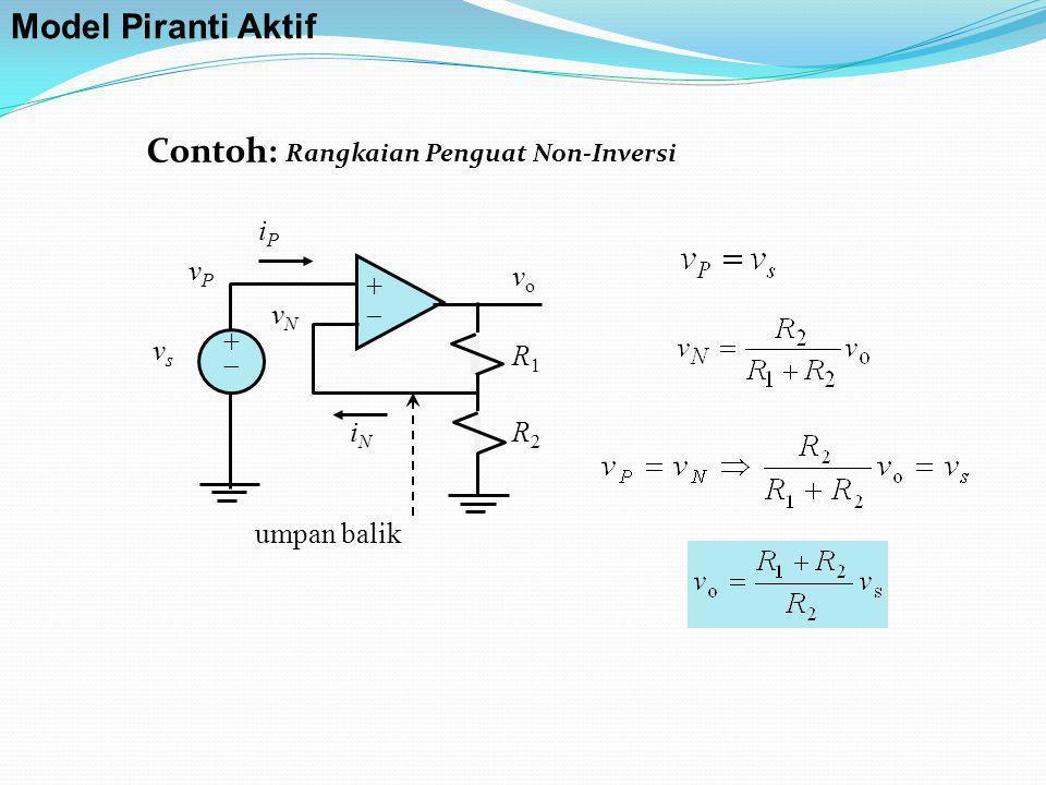 Contoh: Rangkaian Penguat Non-Inversi ++ ++ iPiP iNiN vPvP vsvs vNvN R1R1 R2R2 vo vo umpan balik Model Piranti Aktif