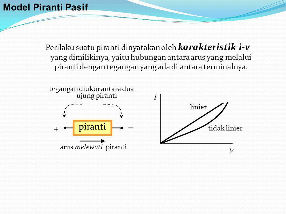 Resistor Simbol: R i v nyata model batas daerah linier Model Piranti Pasif Kurva i terhadap v tidak linier benar namun ada bagian yang sangat mendekati linier, sehingga dapat dianggap linier.