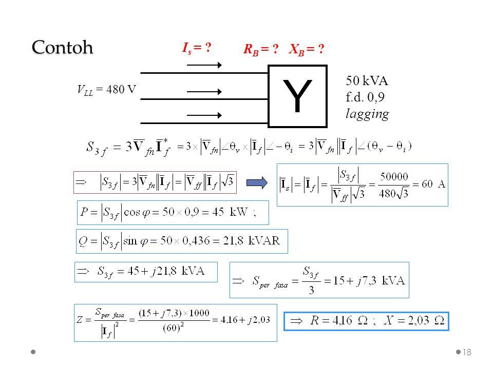 Y 50 kVA f.d. 0,9 lagging V LL = 480 V I s = ? R B = ? X B = ? Contoh 18