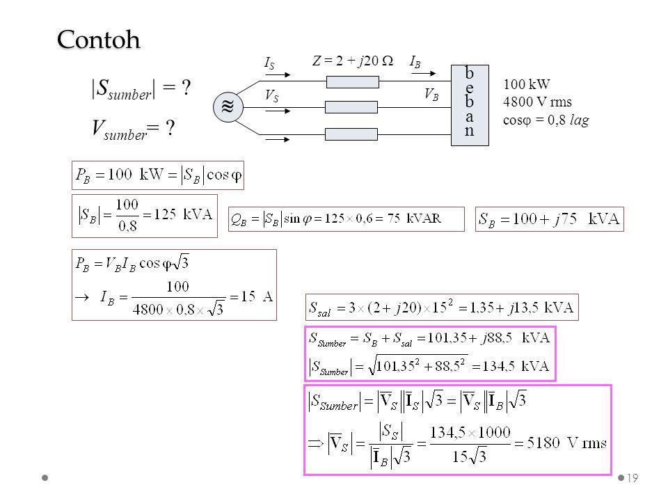 bebanbeban VSVS VBVB Z = 2 + j20    ISIS IBIB 100 kW 4800 V rms cos  = 0,8 lag |S sumber | = ? V sumber = ? Contoh 19