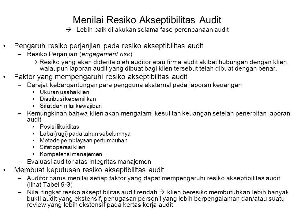 Menilai Resiko Akseptibilitas Audit  Lebih baik dilakukan selama fase perencanaan audit Pengaruh resiko perjanjian pada resiko akseptibilitas audit –