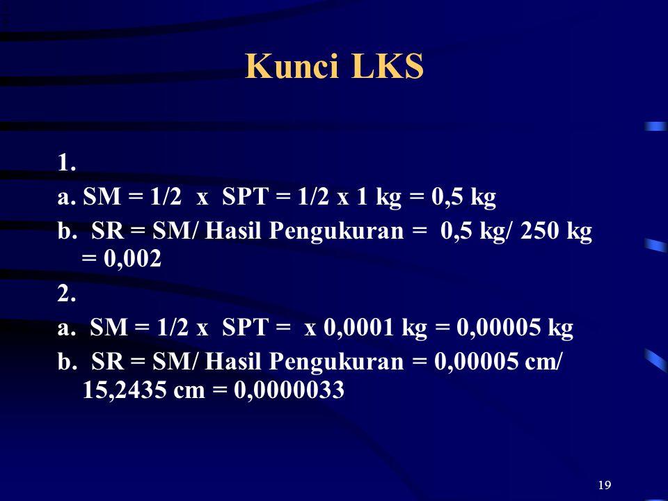19 Kunci LKS 1. a. SM = 1/2 x SPT = 1/2 x 1 kg = 0,5 kg b. SR = SM/ Hasil Pengukuran = 0,5 kg/ 250 kg = 0,002 2. a. SM = 1/2 x SPT = x 0,0001 kg = 0,0
