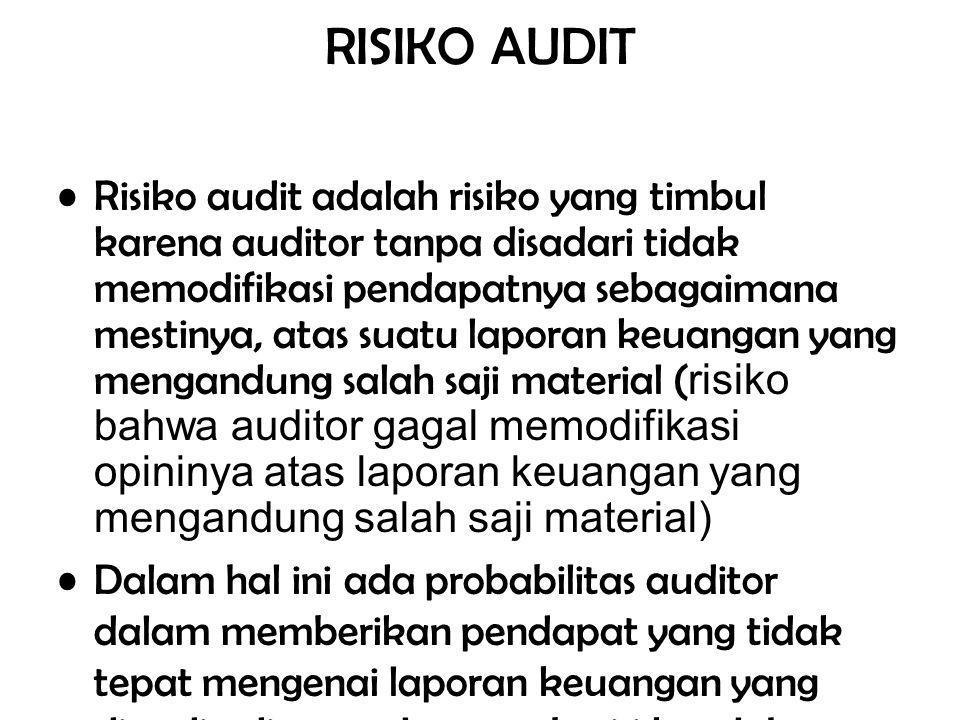 RISIKO AUDIT Risiko audit adalah risiko yang timbul karena auditor tanpa disadari tidak memodifikasi pendapatnya sebagaimana mestinya, atas suatu laporan keuangan yang mengandung salah saji material ( risiko bahwa auditor gagal memodifikasi opininya atas laporan keuangan yang mengandung salah saji material) Dalam hal ini ada probabilitas auditor dalam memberikan pendapat yang tidak tepat mengenai laporan keuangan yang diaudit, di mana laporan berisi kesalahan material yang gagal ditemukan oleh auditor