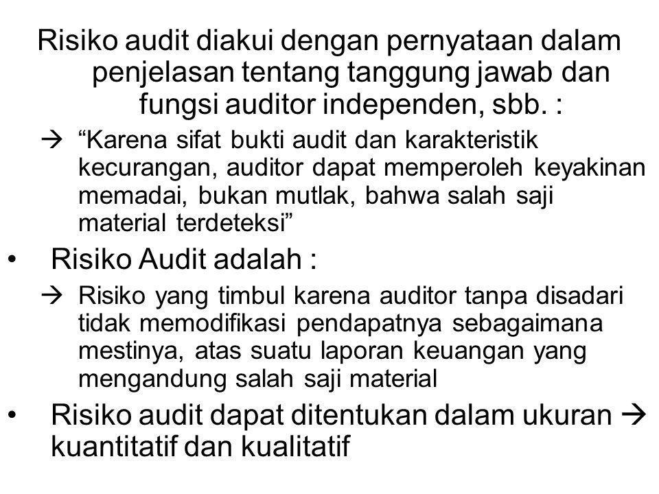 Risiko audit diakui dengan pernyataan dalam penjelasan tentang tanggung jawab dan fungsi auditor independen, sbb.