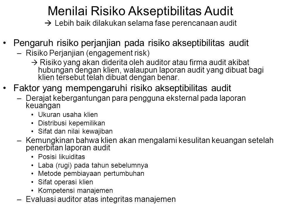 Menilai Risiko Akseptibilitas Audit  Lebih baik dilakukan selama fase perencanaan audit Pengaruh risiko perjanjian pada risiko akseptibilitas audit –Risiko Perjanjian (engagement risk)  Risiko yang akan diderita oleh auditor atau firma audit akibat hubungan dengan klien, walaupun laporan audit yang dibuat bagi klien tersebut telah dibuat dengan benar.