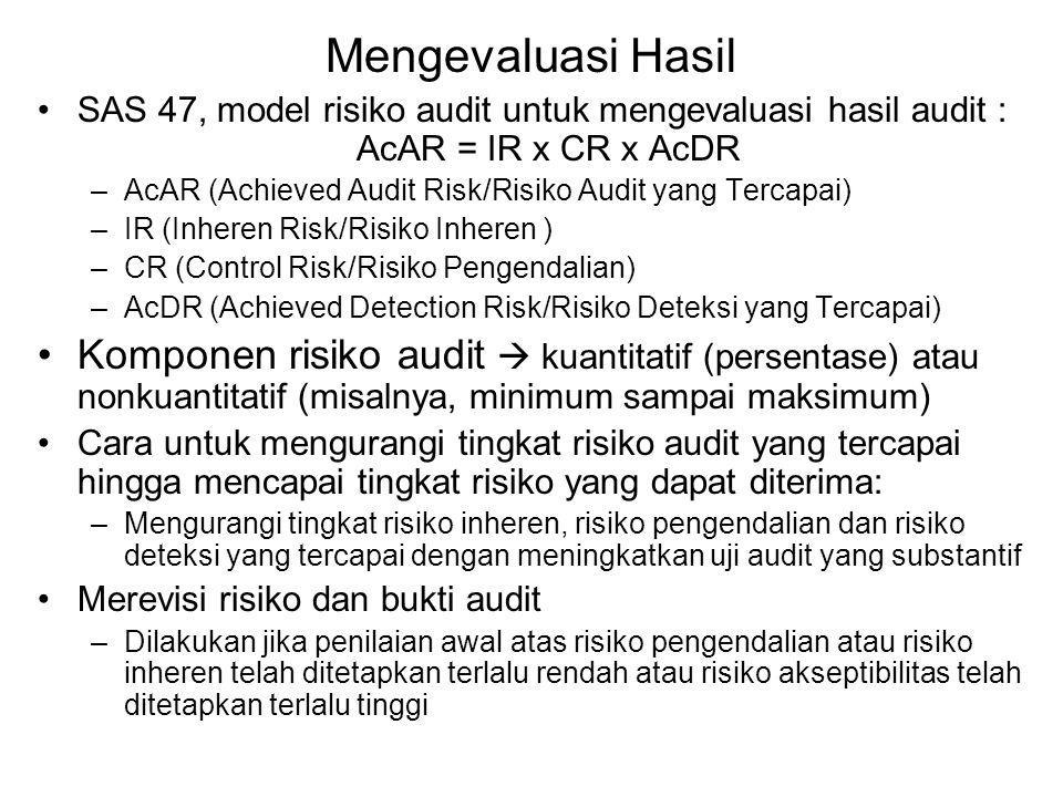Mengevaluasi Hasil SAS 47, model risiko audit untuk mengevaluasi hasil audit : AcAR = IR x CR x AcDR –AcAR (Achieved Audit Risk/Risiko Audit yang Tercapai) –IR (Inheren Risk/Risiko Inheren ) –CR (Control Risk/Risiko Pengendalian) –AcDR (Achieved Detection Risk/Risiko Deteksi yang Tercapai) Komponen risiko audit  kuantitatif (persentase) atau nonkuantitatif (misalnya, minimum sampai maksimum) Cara untuk mengurangi tingkat risiko audit yang tercapai hingga mencapai tingkat risiko yang dapat diterima: –Mengurangi tingkat risiko inheren, risiko pengendalian dan risiko deteksi yang tercapai dengan meningkatkan uji audit yang substantif Merevisi risiko dan bukti audit –Dilakukan jika penilaian awal atas risiko pengendalian atau risiko inheren telah ditetapkan terlalu rendah atau risiko akseptibilitas telah ditetapkan terlalu tinggi