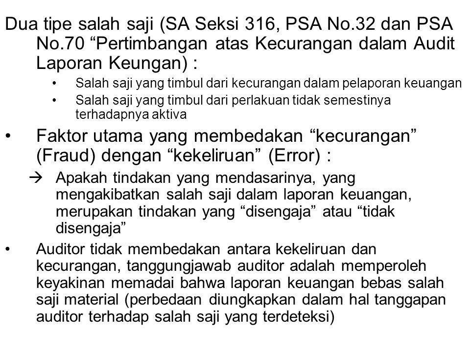 Dua tipe salah saji (SA Seksi 316, PSA No.32 dan PSA No.70 Pertimbangan atas Kecurangan dalam Audit Laporan Keungan) : Salah saji yang timbul dari kecurangan dalam pelaporan keuangan Salah saji yang timbul dari perlakuan tidak semestinya terhadapnya aktiva Faktor utama yang membedakan kecurangan (Fraud) dengan kekeliruan (Error) :  Apakah tindakan yang mendasarinya, yang mengakibatkan salah saji dalam laporan keuangan, merupakan tindakan yang disengaja atau tidak disengaja Auditor tidak membedakan antara kekeliruan dan kecurangan, tanggungjawab auditor adalah memperoleh keyakinan memadai bahwa laporan keuangan bebas salah saji material (perbedaan diungkapkan dalam hal tanggapan auditor terhadap salah saji yang terdeteksi)