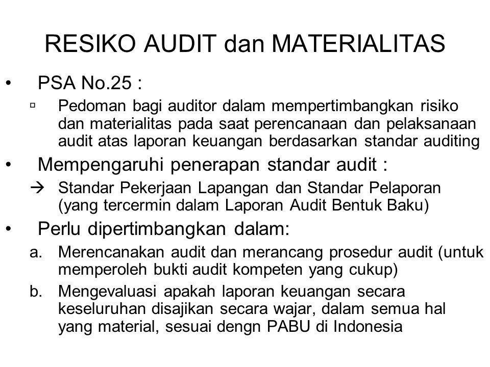 RESIKO AUDIT dan MATERIALITAS PSA No.25 :  Pedoman bagi auditor dalam mempertimbangkan risiko dan materialitas pada saat perencanaan dan pelaksanaan audit atas laporan keuangan berdasarkan standar auditing Mempengaruhi penerapan standar audit :  Standar Pekerjaan Lapangan dan Standar Pelaporan (yang tercermin dalam Laporan Audit Bentuk Baku) Perlu dipertimbangkan dalam: a.Merencanakan audit dan merancang prosedur audit (untuk memperoleh bukti audit kompeten yang cukup) b.Mengevaluasi apakah laporan keuangan secara keseluruhan disajikan secara wajar, dalam semua hal yang material, sesuai dengn PABU di Indonesia