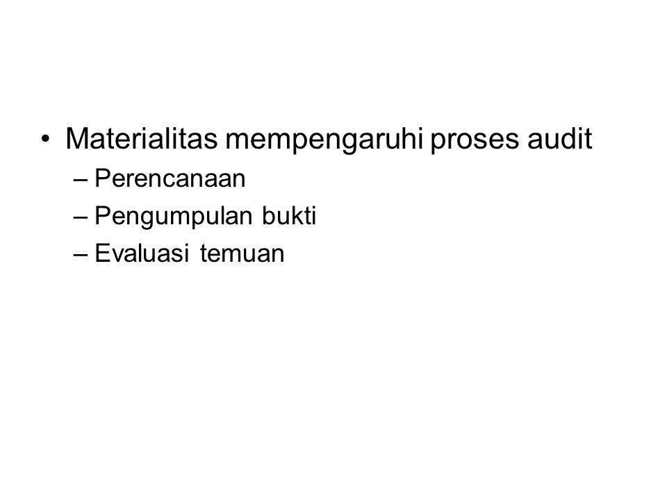 Materialitas mempengaruhi proses audit –Perencanaan –Pengumpulan bukti –Evaluasi temuan