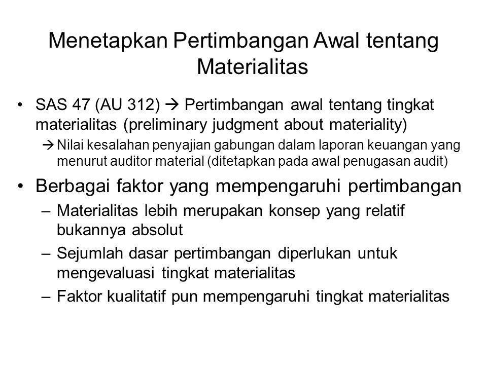 Menetapkan Pertimbangan Awal tentang Materialitas SAS 47 (AU 312)  Pertimbangan awal tentang tingkat materialitas (preliminary judgment about materiality)  Nilai kesalahan penyajian gabungan dalam laporan keuangan yang menurut auditor material (ditetapkan pada awal penugasan audit) Berbagai faktor yang mempengaruhi pertimbangan –Materialitas lebih merupakan konsep yang relatif bukannya absolut –Sejumlah dasar pertimbangan diperlukan untuk mengevaluasi tingkat materialitas –Faktor kualitatif pun mempengaruhi tingkat materialitas