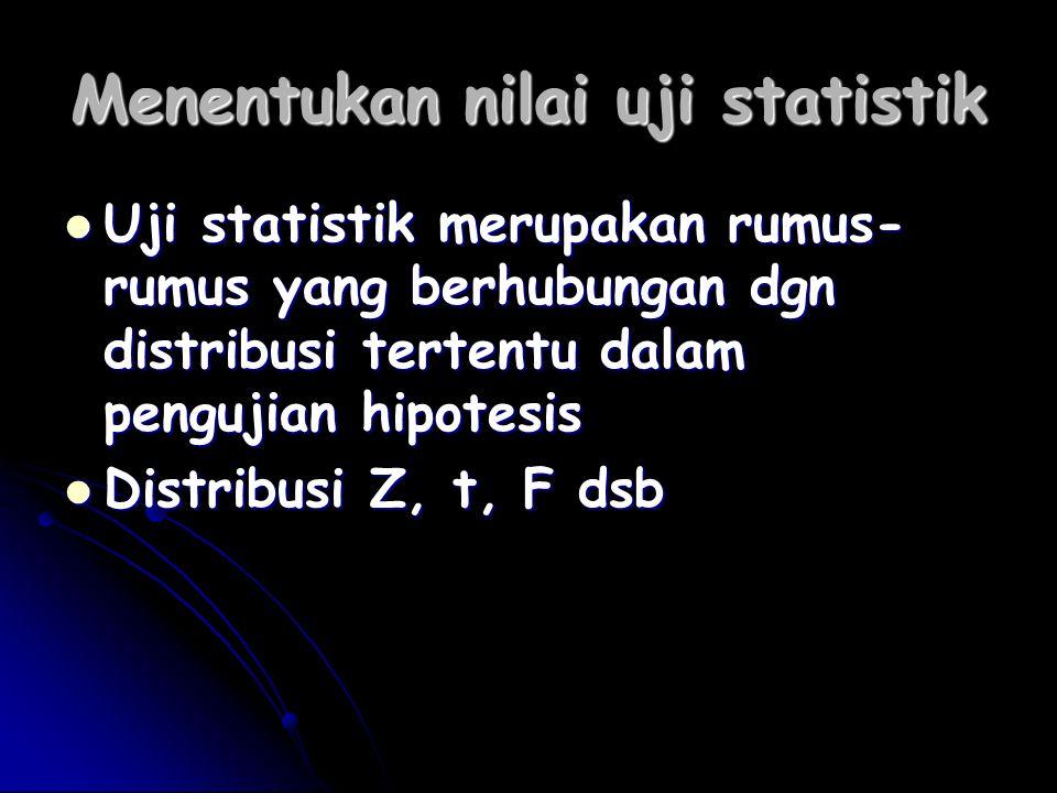 Menentukan nilai uji statistik Uji statistik merupakan rumus- rumus yang berhubungan dgn distribusi tertentu dalam pengujian hipotesis Uji statistik m