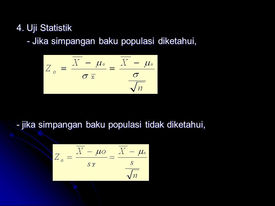 4. Uji Statistik - Jika simpangan baku populasi diketahui, - jika simpangan baku populasi tidak diketahui,