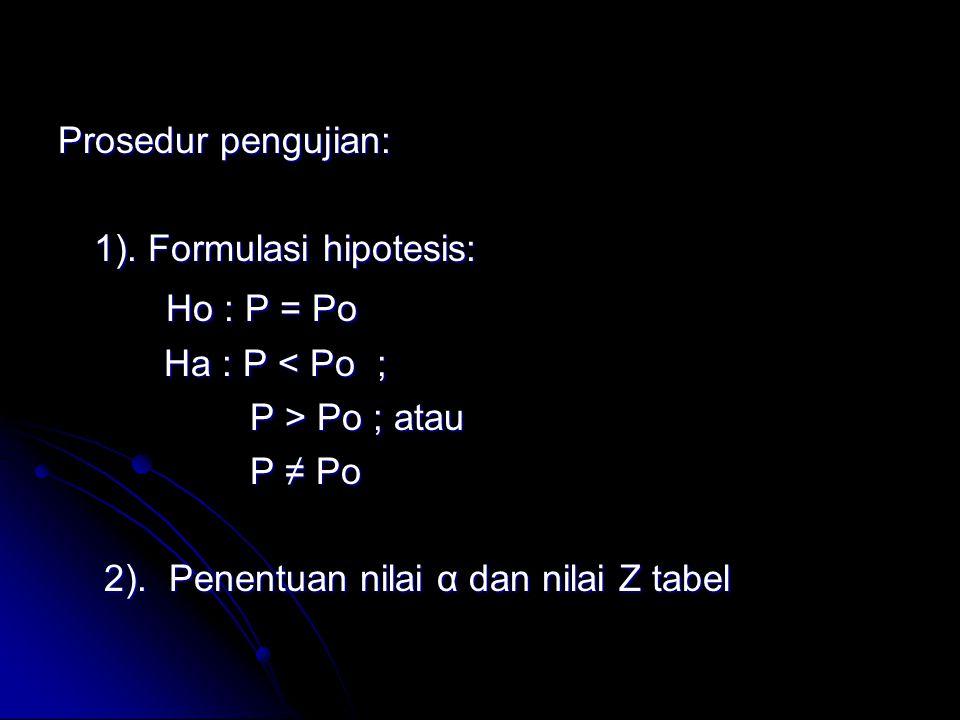 Prosedur pengujian: 1). Formulasi hipotesis: Ho : P = Po Ho : P = Po Ha : P < Po ; Ha : P < Po ; P > Po ; atau P ≠ Po 2). Penentuan nilai α dan nilai