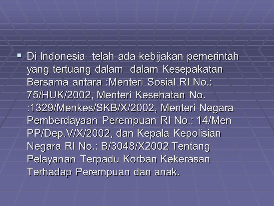  Di Indonesia telah ada kebijakan pemerintah yang tertuang dalam dalam Kesepakatan Bersama antara :Menteri Sosial RI No.: 75/HUK/2002, Menteri Keseha