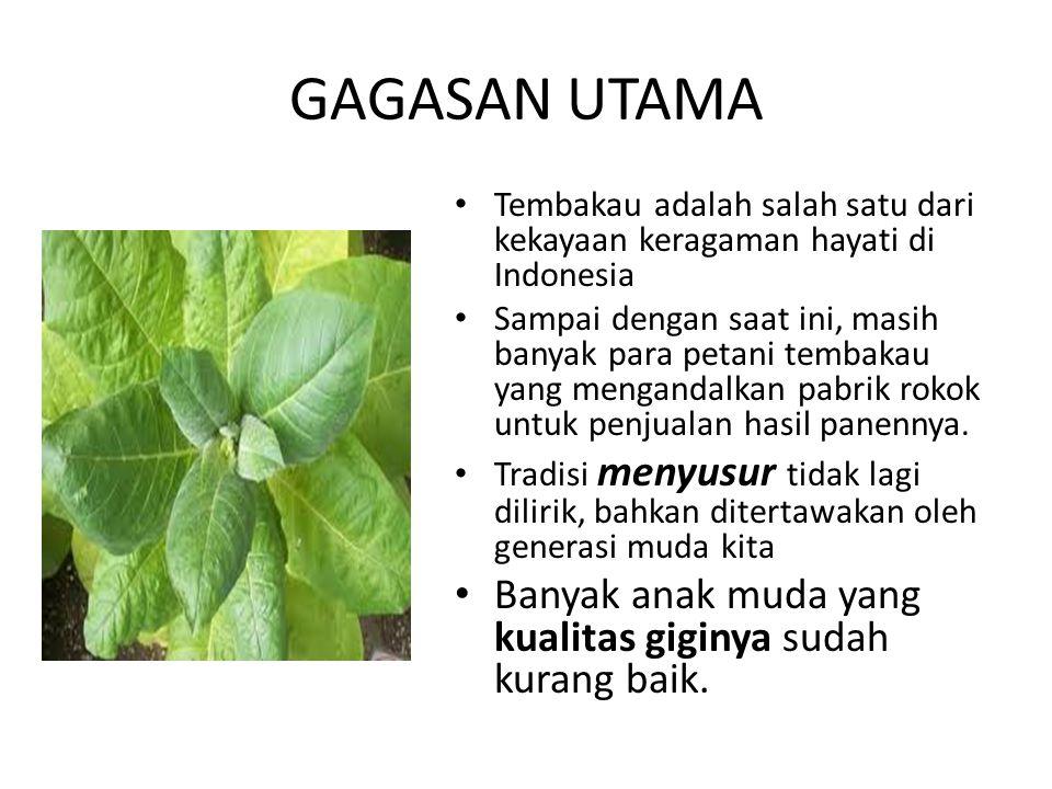 GAGASAN UTAMA Tembakau adalah salah satu dari kekayaan keragaman hayati di Indonesia Sampai dengan saat ini, masih banyak para petani tembakau yang me