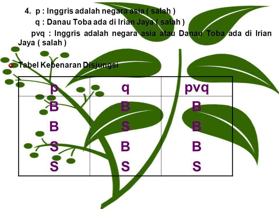4. p : Inggris adalah negara asia ( salah ) q : Danau Toba ada di Irian Jaya ( salah ) pvq : Inggris adalah negara asia atau Danau Toba ada di Irian J