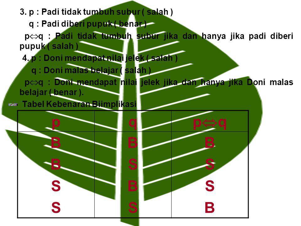 3. p : Padi tidak tumbuh subur ( salah ) q : Padi diberi pupuk ( benar ) p  q : Padi tidak tumbuh subur jika dan hanya jika padi diberi pupuk ( salah