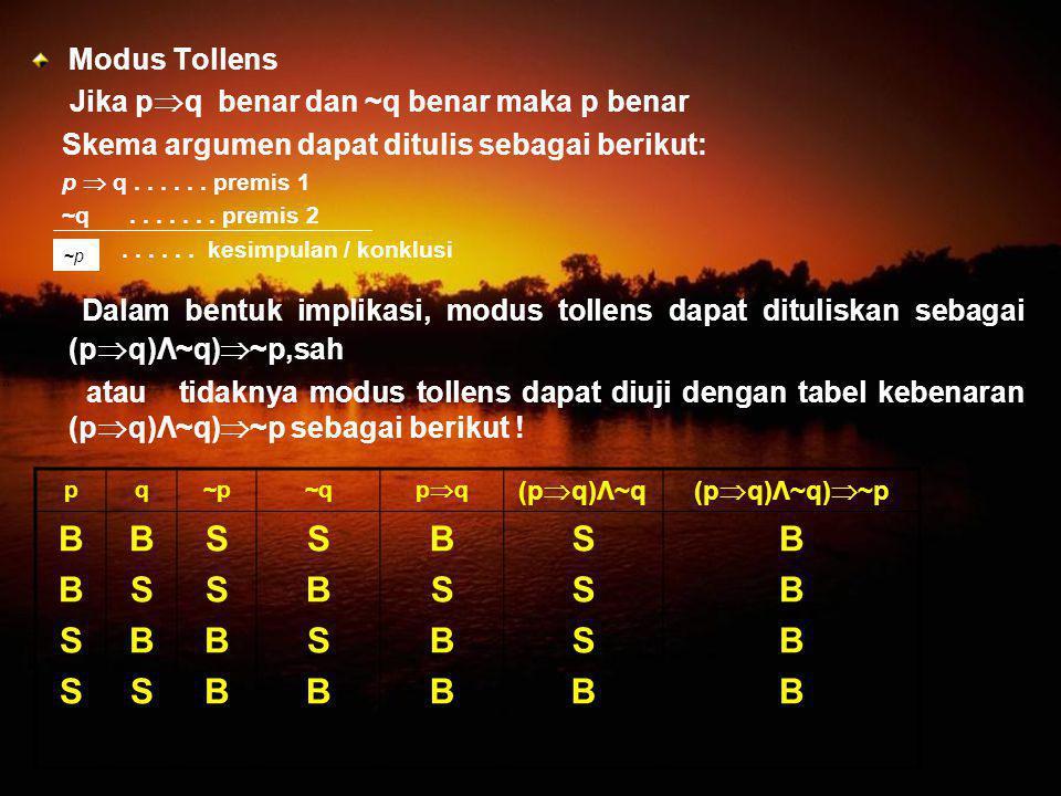 Modus Tollens Jika p  q benar dan ~q benar maka p benar Skema argumen dapat ditulis sebagai berikut: p  q...... premis 1 ~q....... premis 2...... ke