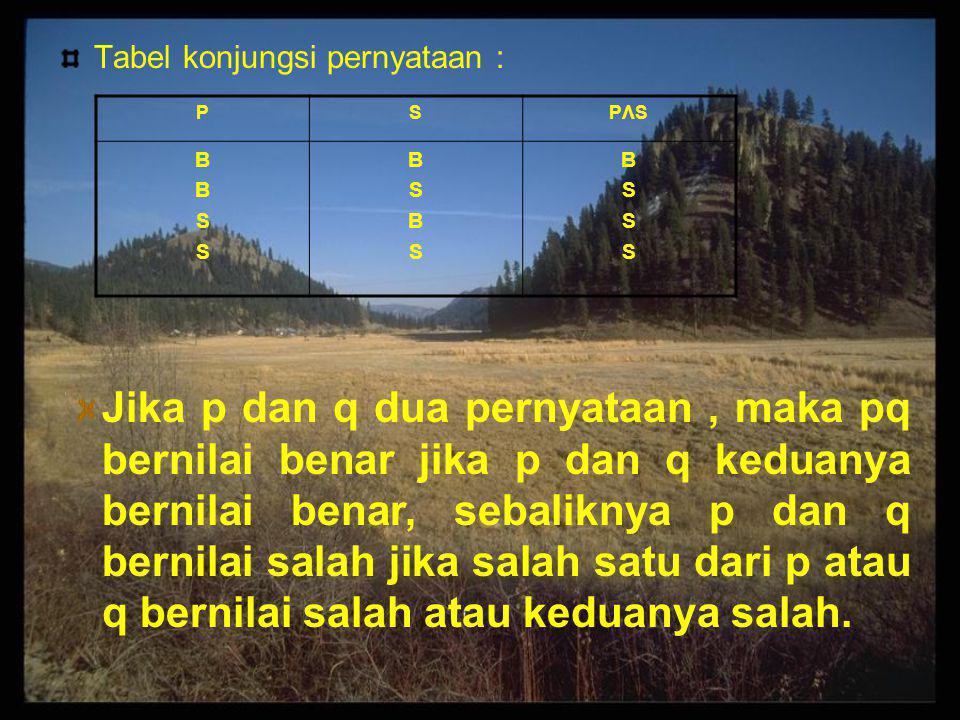 Tabel konjungsi pernyataan : PSPΛSPΛS BBSSBBSS BSBSBSBS BSSSBSSS Jika p dan q dua pernyataan, maka pq bernilai benar jika p dan q keduanya bernilai be