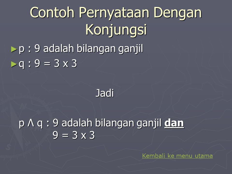 Contoh Pernyataan dengan Disjungsi p : 3 x 5 = 15 q : 15 adalah bilangan prima Jadi p v q : 3 x 5 = 15 atau 15 adalah bilangan prima Kembali ke menu u
